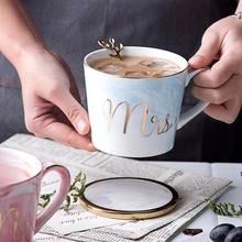 360ml Handpainted Gold Monogram Natural Marble Porcelain Coffee Mug Mr and Mrs Tea Milk Cups Mugs Wedding Gift with logo