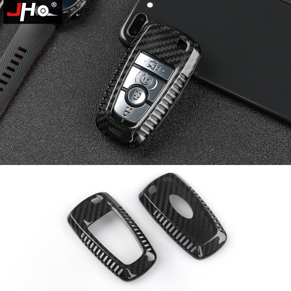 JHO Real Carbon Fiber Remote Key Fob Shell Case For 2018 Ford Explorer F150 Mustang EDGE