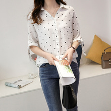 Women Chiffon Blouse Top Polka Dot Print Shirt Blouse Short Sleeve V Neck Casual Shirts Korean Summer Loose Tops Plus Size 4XL plus size polka dot raglan sleeve top