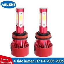ASLENT 4side LUMEN Car Headlight Turbo LED H4 H7 Bulb H11 H8 H9 9004 9007 9005 9006 Auto Fog Light Lamp 12v 24v 100w 12000lm
