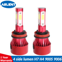 ASLENT 4side LUMEN Car Headlight Turbo LED H4 H7 LED Bulb H11 H8 H9 9004 9007 9005 9006 Auto Fog Light Lamp 12v 24v 100w 12000lm(China)
