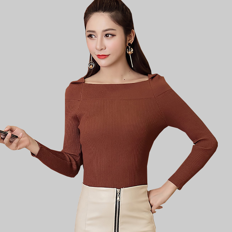 Shintimes Slash Neck Womens Pullover New Arrival 2019 Autumn Ladies Long Sleeve Sweater Women Black Knitted Casual Pull Femme