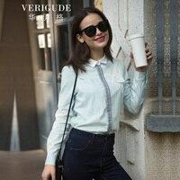 Veri Gude Women Lace Applique Blouse Cotton Shirt High Quality Slim Fit Tops