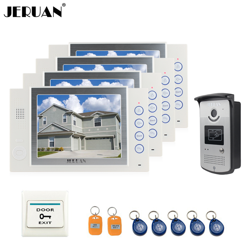 JERUAN 8`` video door phone doorbell intercom system video recording & photo taking access control system with 5RFID+1EXIT BUTTO