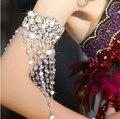 A nova pulseira de noiva nupcial pulseira chains jóias braçadeira cadeia braço acessórios do vestido de casamento de cristal pulseiras para as mulheres