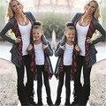 Otoño de manga larga trajes de la familia clothing madre hija cardigan suéter outwear chaqueta del fasion