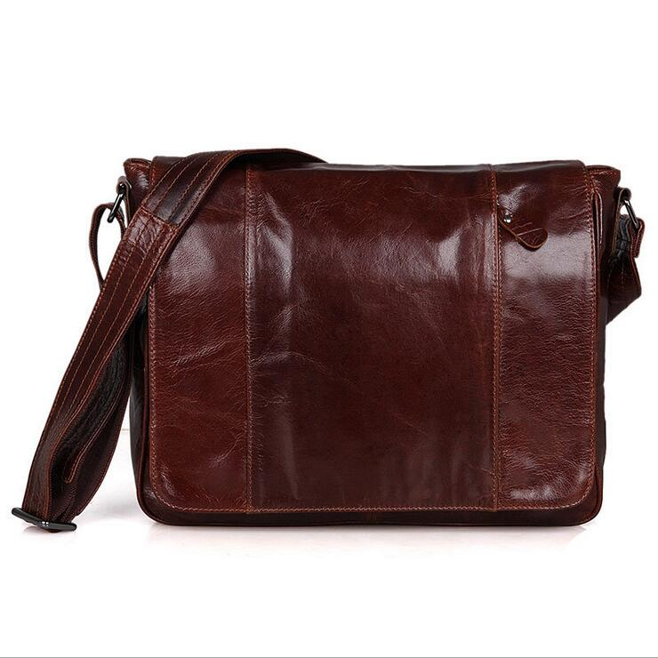 Cowhide Men's crossbody bag iPad Messenger Bags men bags Tabelt Cowskin Leather shoulder bag