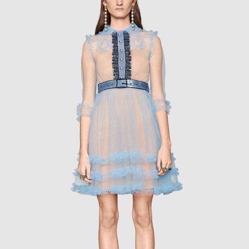Ecombird 2017 new summer Runway Women Party Dress Sexy see through blue mesh sheer 3/4 sleeve sequin ruffles mini dress vestidos