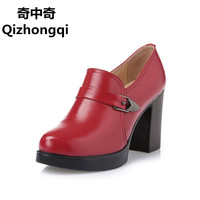Woman Shoes Genuine Leather High Heeled Women S Singles Shoes Waterproof High Quality Fashion Party Shoes