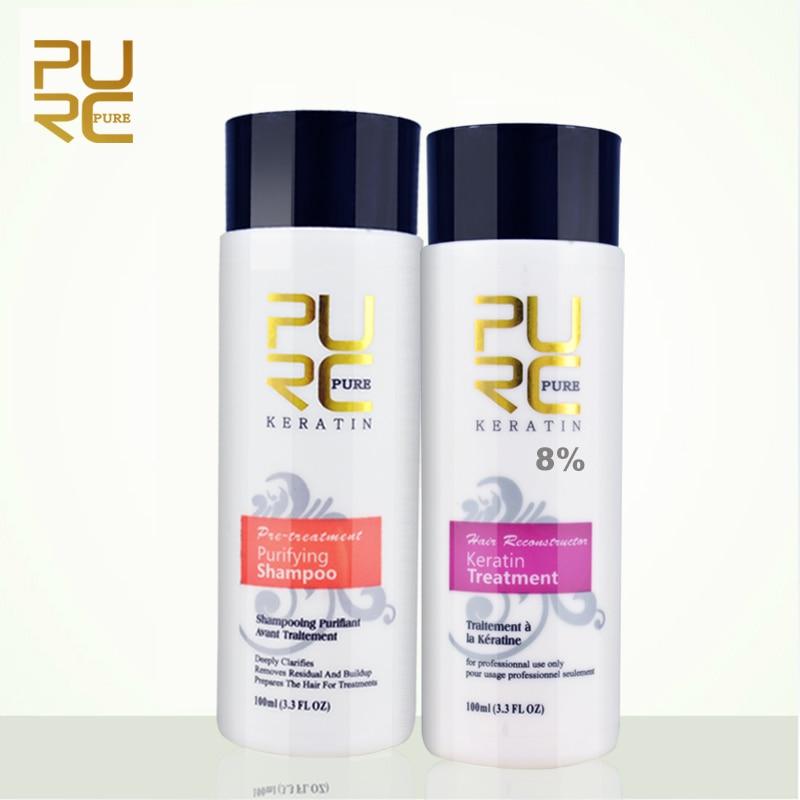 PURC 8% formaldehyd keratin und reinigung shampoo set 2016 besten haarpflege produkte heißer verkauf haar richt behandlung