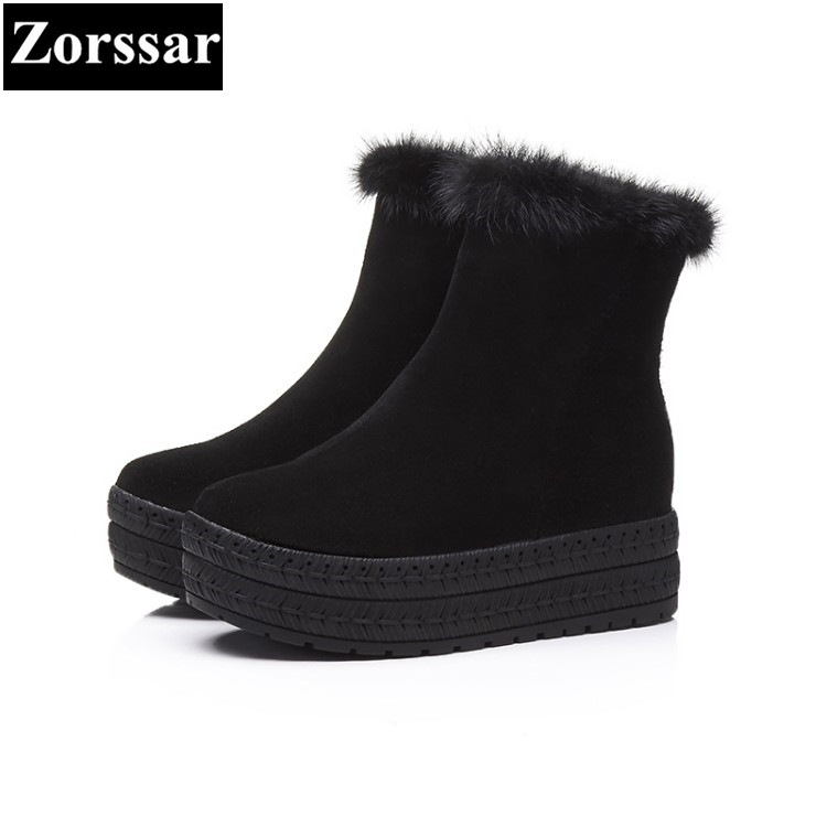 {Zorssar} 2017 Women platform Boots Cow Suede Ankle Snow Boots Female Warm Fur Plush Insole casual flats Winter womens shoes designer women winter ankle boots female fur lace up snow boots suede plush sewing botas