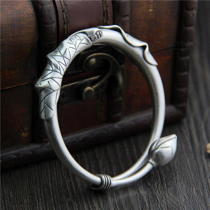 Pur argent éthique 925 Sterling Thai argent Bracelets Bracelets Vintage mat taille ouverte S925 bracelet bijoux avec graine de feuille de Lotus