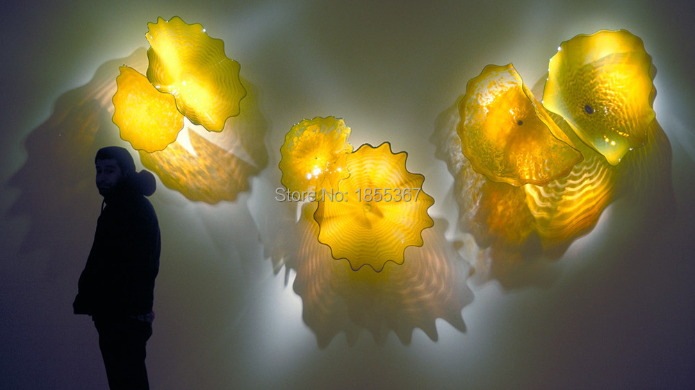 New Arrival Yellow Glass Wall Art Cheap Blown Glass Wall Plates Arts ...