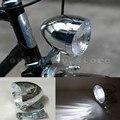 Motocicleta Brillante 3 LED Plata Vintage Bicicleta de la Bici Ciclismo Retro Delante Del Faro Cabeza de La Niebla de Luz La Noche de La Lámpara de Seguridad
