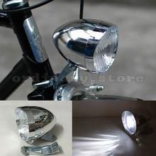 Moto Luminoso 3 LED Argento Dell'annata Della Bicicletta Bike Retro Bicicletta Del Faro Anteriore Della Luce di Nebbia Testa di Notte Della Lampada di Sicurezza