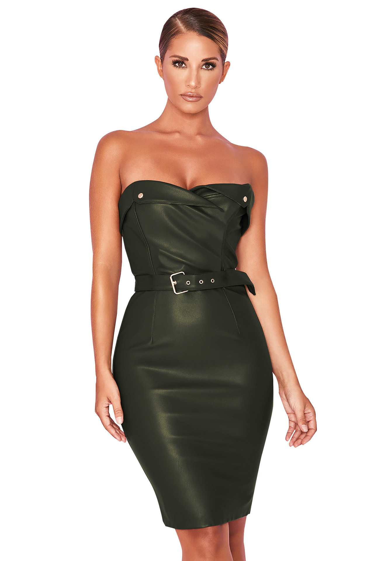 Сексуальное Клубное платье из искусственной кожи для девочек, зеленое, без бретелек, без рукавов, мини термокатодная трубка, обтягивающее п
