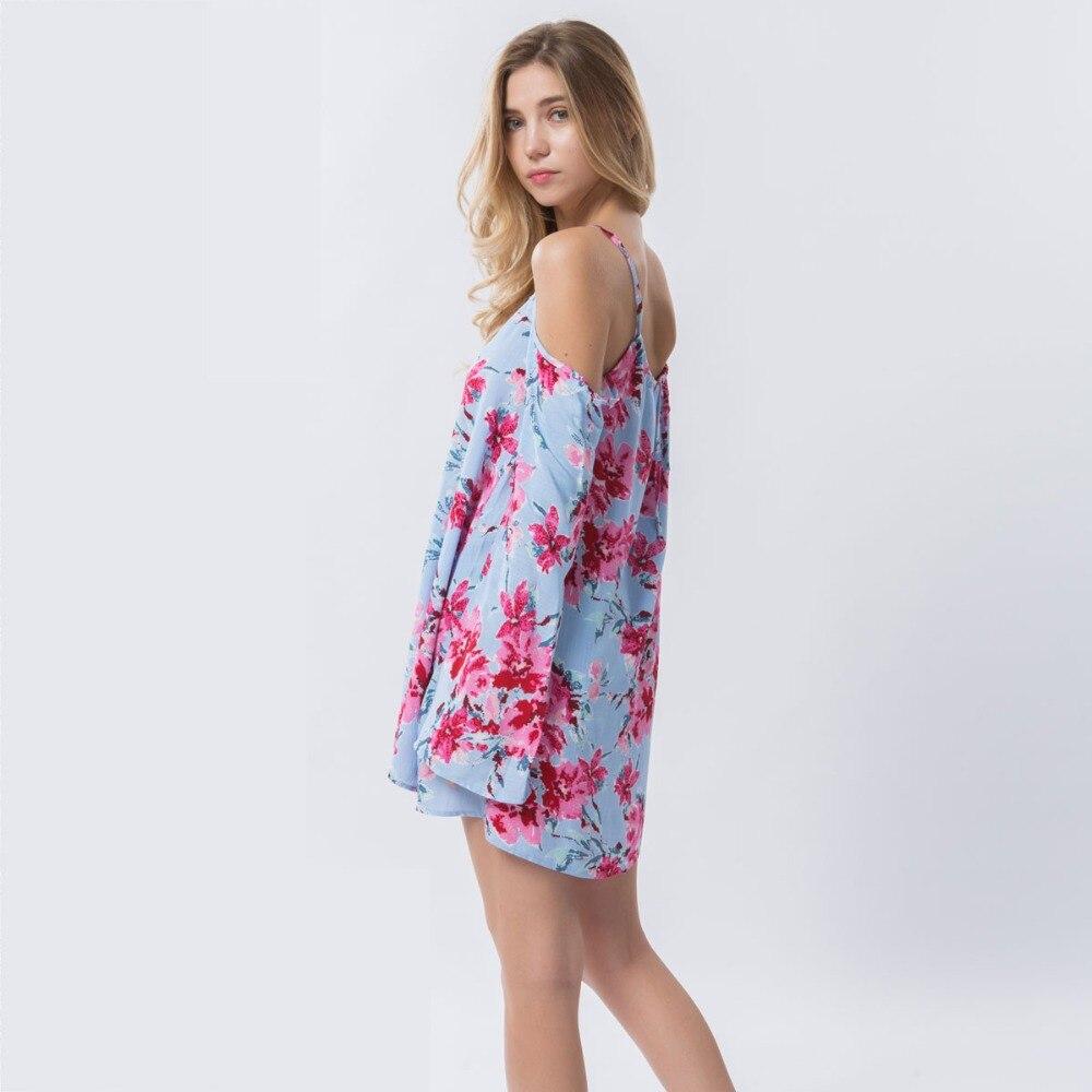 Dioufond Schulterfreies Blusenhemd Beach Summer Floral Blusen Strap - Damenbekleidung - Foto 5