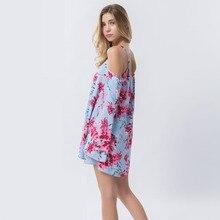 Dioufond off shoulder Floral Strap Print Linen Tops