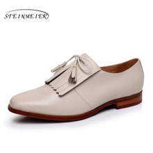 Vintage flat square toe handmade red beige oxford shoes