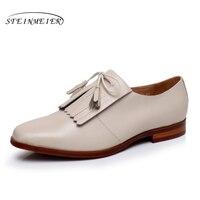Tamanho mulher 9 designer de couro genuíno yinzo sapatos baixos dedo do pé quadrado do vintage feitos à mão vermelho bege oxford sapatos para as mulheres 2017