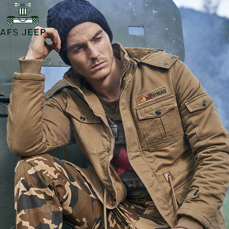 AFS JEEP Thick Warm Winter Jacket Men Casual Cotton Men's Outwear   Parka   Men Plus Size 4XL Windbreak Snow Military Flight Jacket