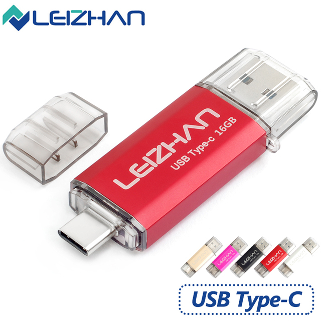 LEIZHAN Type-C 3.1 OTG Pendrive 64GB Metal USB Flash Drive 64GB High Speed USB 3.0 Pendrive Micro USB for smart Phones USB Stick