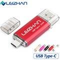 Leizhan tipo-c 3.1 otg pendrive 64 gb de metal usb flash drive 64 gb de alta velocidade usb 3.0 usb pendrive micro usb para telefones inteligentes vara