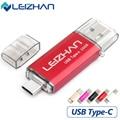 Leizhan tipo-c 3.1 otg pendrive 64 gb metal usb flash drive 64 gb micro usb para los teléfonos inteligentes de alta velocidad usb 3.0 pendrive usb palo