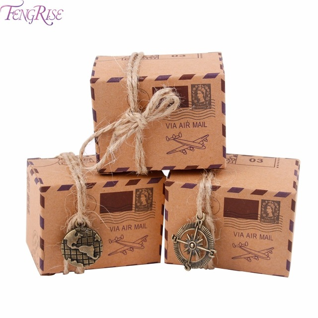 FENGRISE 50pcs Vintage Wedding Candy Box Packing Gift Kraft Box Wedding Favors and Gifts for Guests Birthday Party Decoration