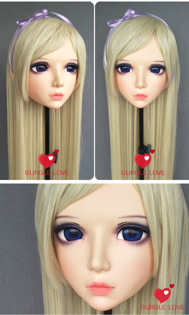 (GL087) Sweet Girl Resin Half Head BJD Kigurumi Mask With Eyes Cosplay Anime Role Lolita Mask Crossdress Doll