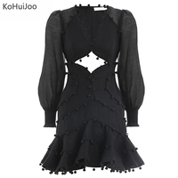 KoHuiJoo Sexy Mini Ball Dress Woman Long Sleeve Solid Puff Sleeve Hollow Out Dress Woman V Neck High Waist A Line Retro Dresses