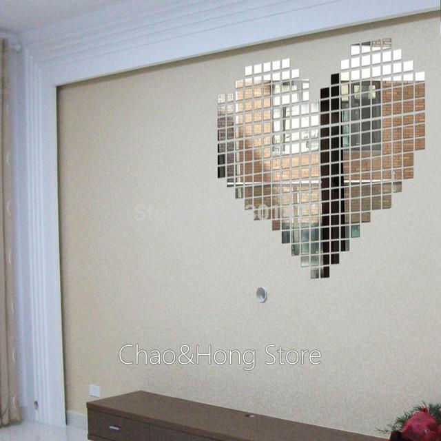 100 pcs Praça 3X3 cm para DIY Mural Em Mosaico Espelho Acrílico Adesivos de Parede Decoração de Casa para o Sofá TV quarto Fundo Corredor