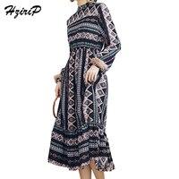 HziriP 2017 여성 스탠드 칼라 두꺼워 쉬폰 인쇄 드레스 겨울 프릴 무료 크기 느슨한 세 드레스 긴 Vestidos