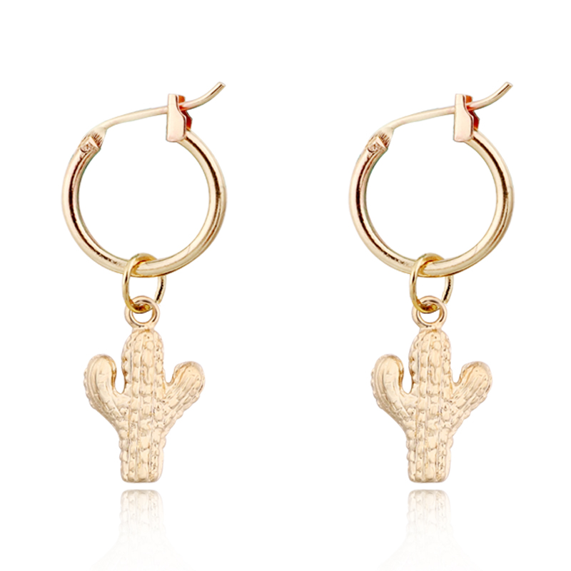 1Pair Gold Color Shell Conch Cactus Hoop Earrings Women Cute Chic Mini Small Pendant Round Circle Earrings Jewelry Gift E315