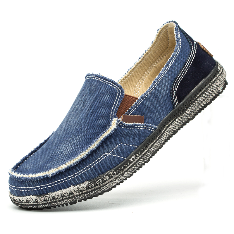 classic canvas shoes men lazy shoes blue grey canvas moccasins men slip on loafers washed denim casual flats big size 46-in Men's Casual Shoes from Shoes