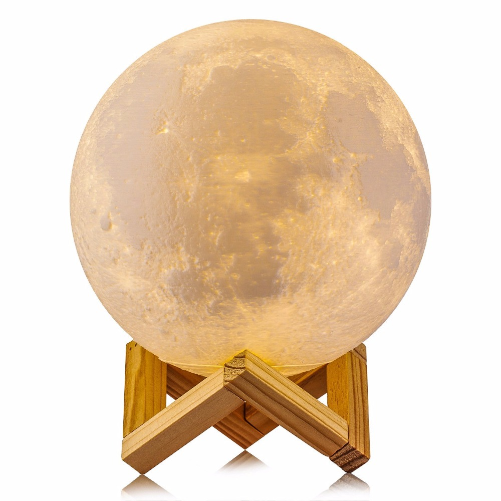 8CM 15CM 20CM Rechargeable 3D Print Moon Lamp 2 Color Change Touch Switch Bedroom Bookcase Night Light Home Decor Creative Gift