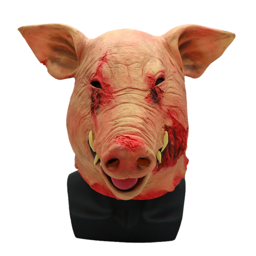Halloween Cosplay Costume Latex Mask Scary Evil Pig Mask Horrific Devil Mask for Adults Halloween Patry Cosplay Props
