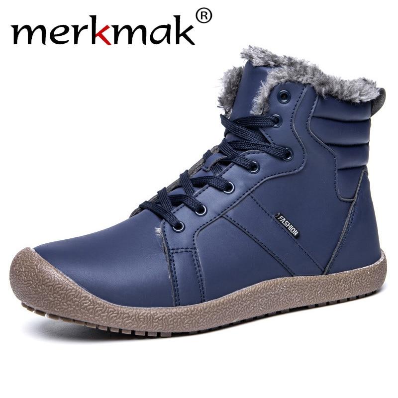 a7d97ce4c607 Купить Merkmak зимняя мужская обувь, мужские резиновые зимние ботинки, мужские  кожаные ботильоны, мужские меховые ботинки, повседневная Рабочая модна.