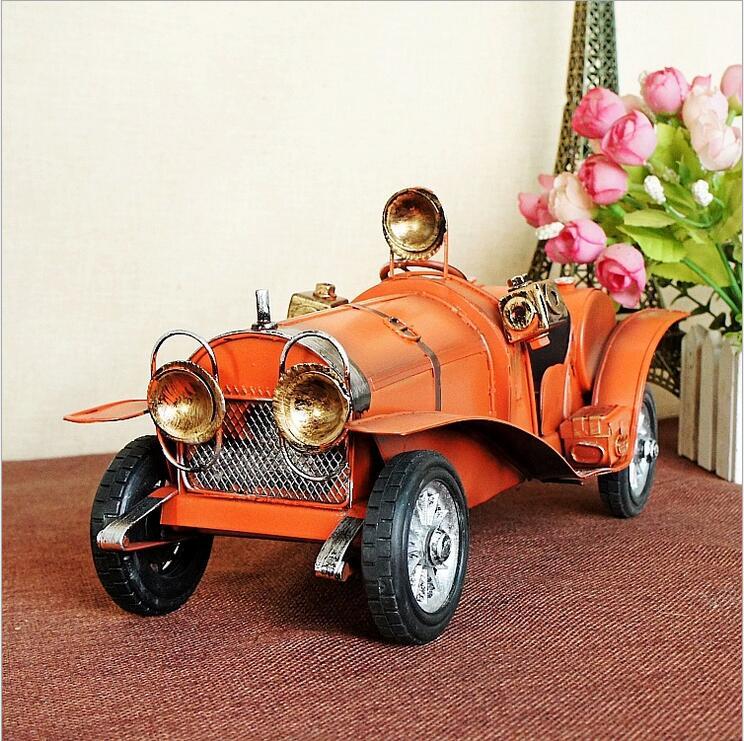 Crveni ručno izrađeni metalni klasični automobili Model Retro - Kućni dekor - Foto 3
