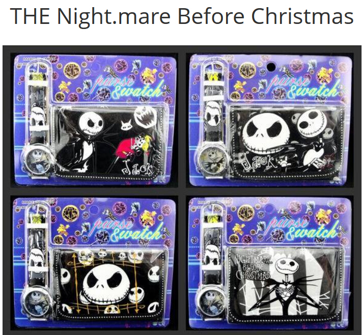 Wholesale 12Sets Nightmare Before christmas Wristwatch watch and Purses Wallets Party Favors A17