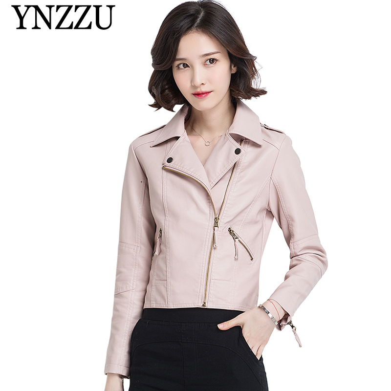 YNZZU 2019 New Spring Solid PU Women's   Leather   Jackets Casual Zippers Motorcycle Short Faux   Leather   Coat Outwear Pink YO759