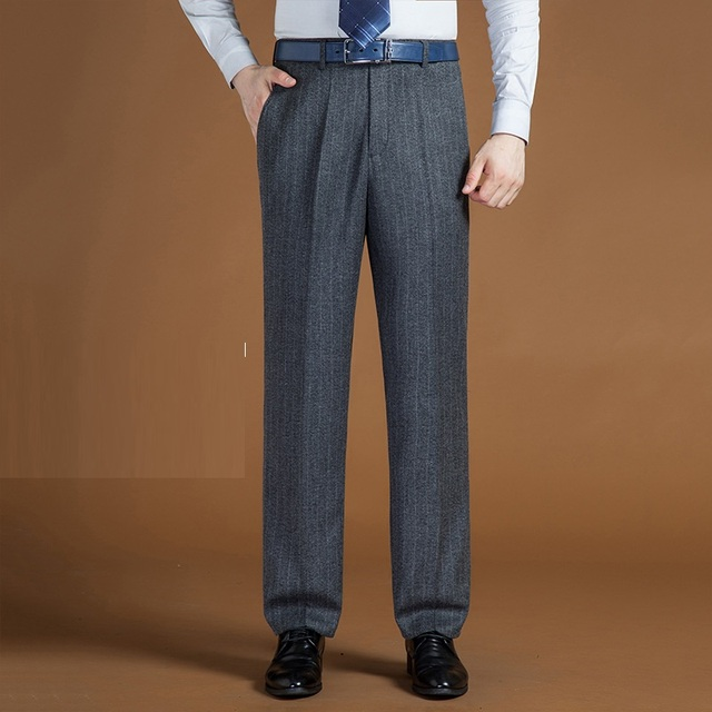 new arrival d74a0 56dc9 ICPANS Herren Anzug Hosen Wolle Polyester Lose Gerade Klassische  Grundlegende für Männer Business Hose Büro Big Größe 42 44