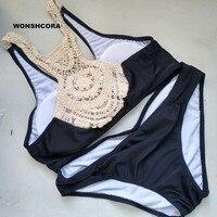 2017 Sexy Women Bikini Set Fashion Hook Flower Triangle Women S Swimming Trunks Green Black Swimwear