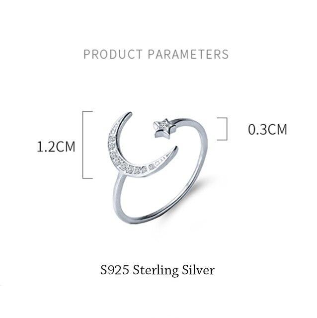925 Sterling Silver Adjustable Women Rings Rhinestone Moon Star CZ Wedding Rings for Women Girls Party Wedding Jewelry 2020 2