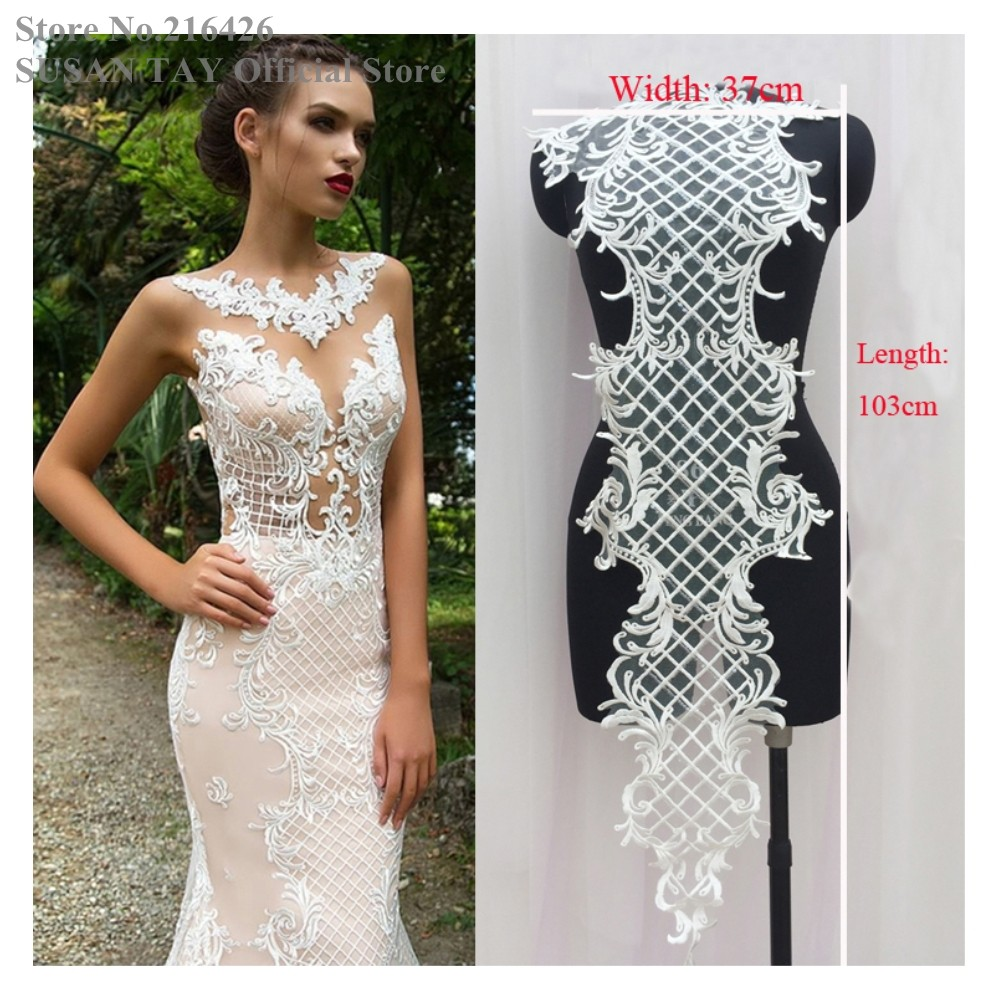 New Ivory Cream Offwhite Rayon Flower Embroidery Lace Applique Collar Sequin Patches Neckline Bridal Wedding Decor