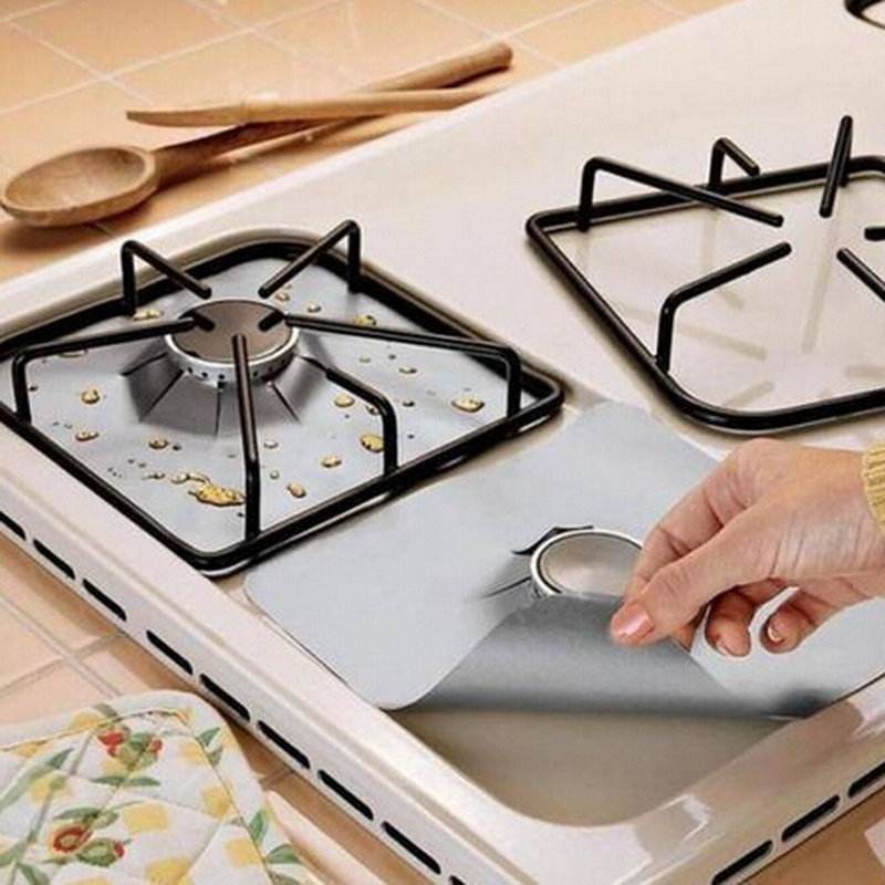 4pcs Reusable Glass Fiber Foil Gas Stove Burner Temperature Anti-fouling and oil Protect ...