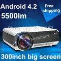 Горячая распродажа 5500 lumens из светодиодов жк-проектор, Дневной проектор, Android 4.4 wifi жк-видеопроектор спинным микро-hdmi + USB + TV