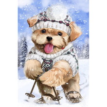 Diamond Embroiderey Dog Diy Painting Cross Stitch 5D Full Round Mosaic Christmas Home Picture Decoration