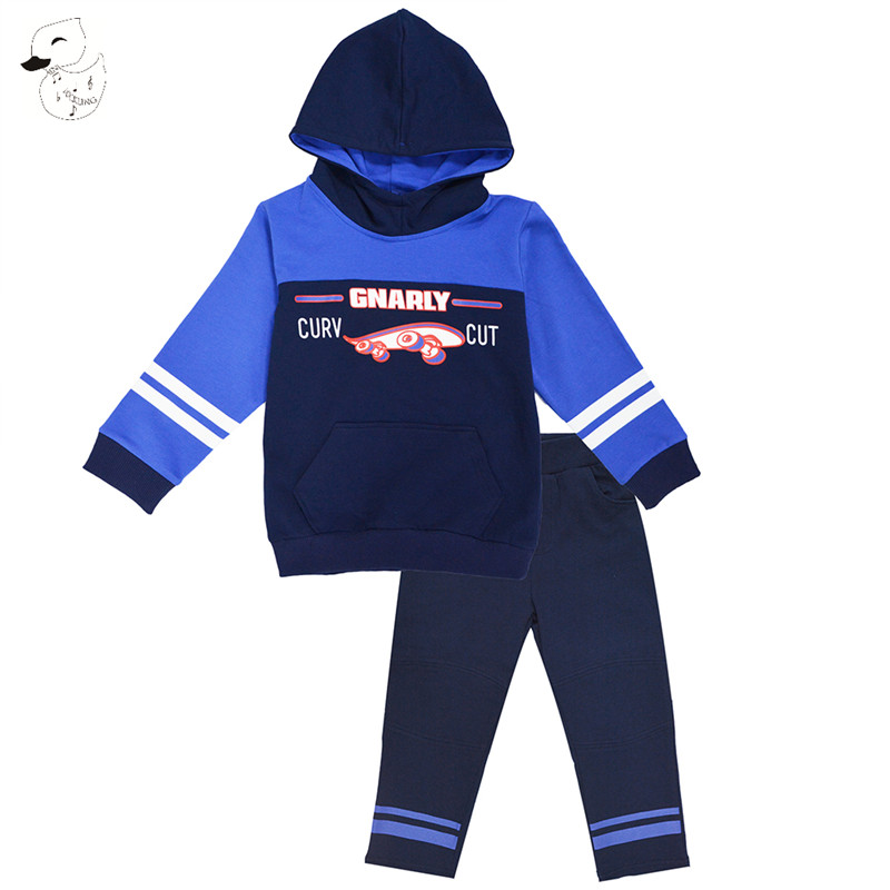 BINIDUCKLING 2017 Baby Boys Sets Autumn Boys Sets Clothes Scooter Printed Hoodies+Pants sports Set Children's Suit Clothing