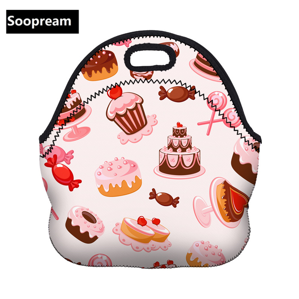 fresh rose flower handbags picnic bags Thermal Insulated Neoprene Lunch Bag Women Kids Lunch bags Cooler  Insulation picnic bag